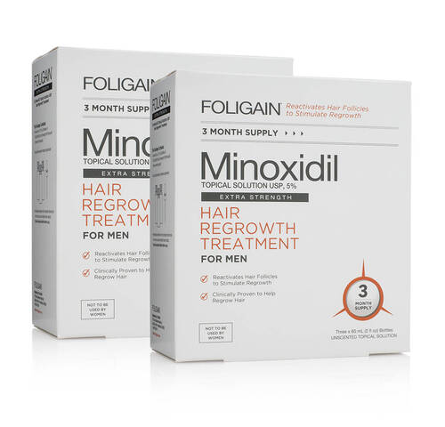 MINOXIDIL 5% FOLIGAIN - Suplemento Para 6 Meses
